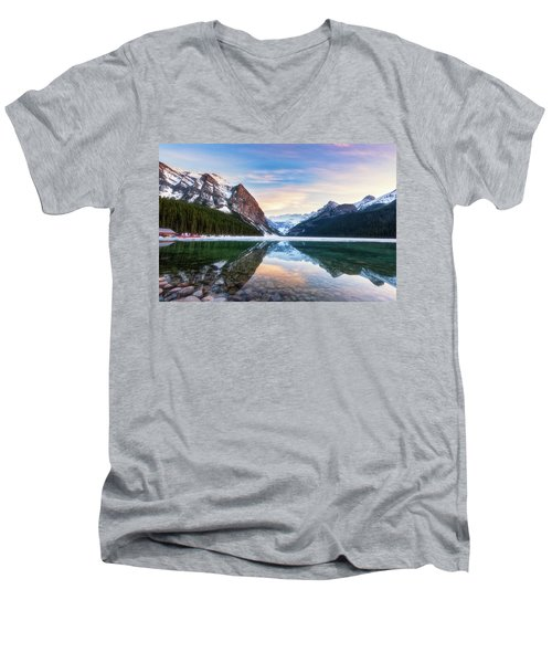 Sunset Lake Louise Men's V-Neck T-Shirt