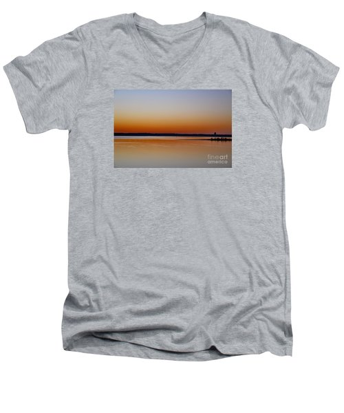 Men's V-Neck T-Shirt featuring the photograph Sunset Lake Texhoma by Diana Mary Sharpton