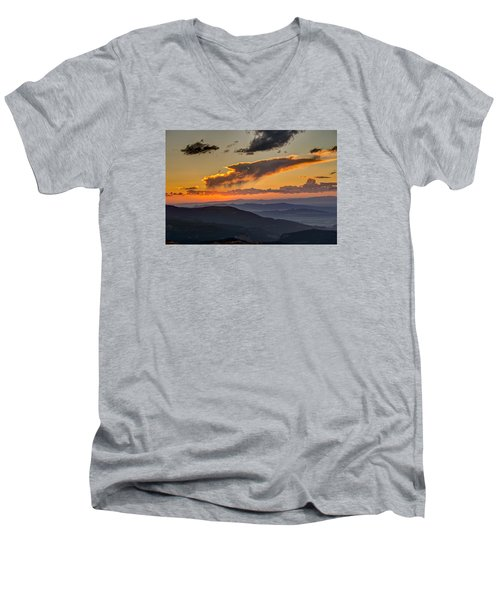 Men's V-Neck T-Shirt featuring the photograph Sunset Layers by David R Robinson
