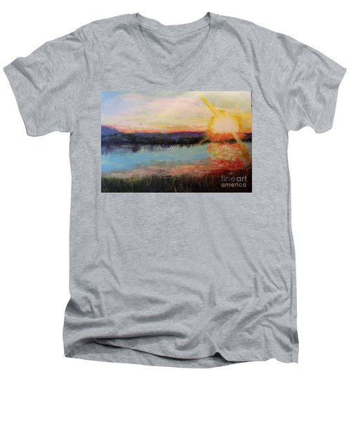 Men's V-Neck T-Shirt featuring the painting Sunset by Marlene Book