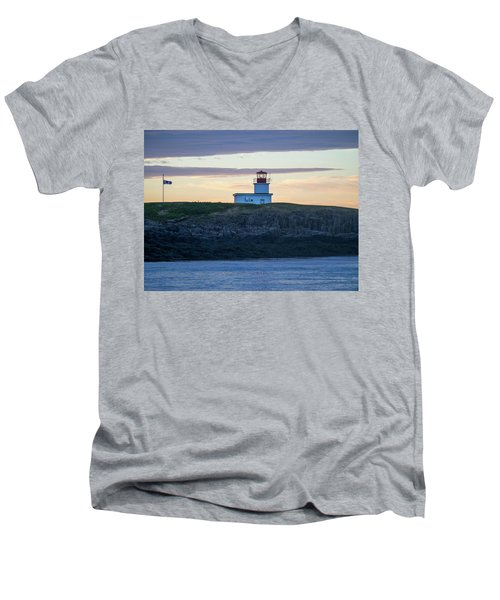 Men's V-Neck T-Shirt featuring the photograph Sunset Nova Scotia  by Trace Kittrell