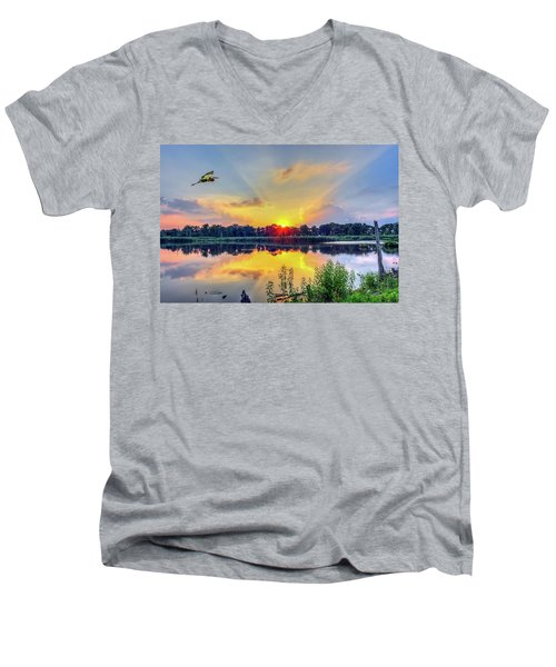 Sunset On A Chesapeake Bay Pond Men's V-Neck T-Shirt