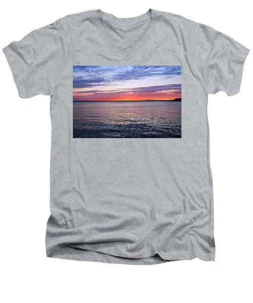Sunset On Barnegat Bay I - Jersey Shore Men's V-Neck T-Shirt