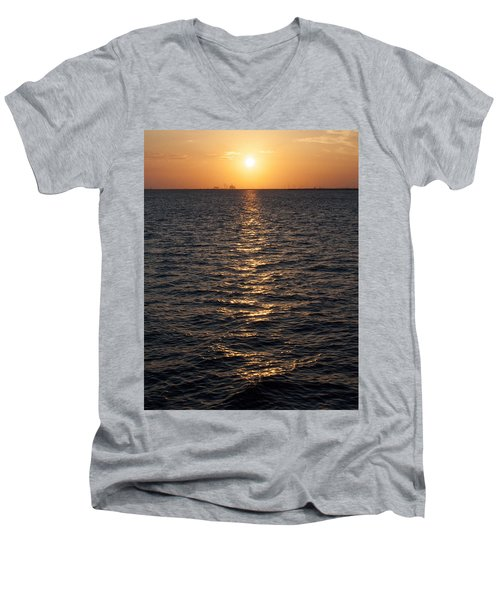 Sunset On Bay Men's V-Neck T-Shirt