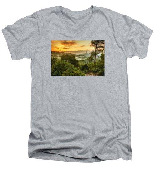 Sunset On Carmel Mountain Men's V-Neck T-Shirt