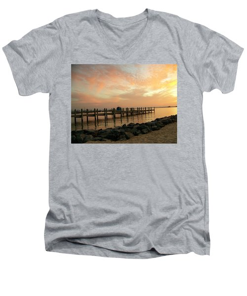 Sunset On Dewey Bay Men's V-Neck T-Shirt