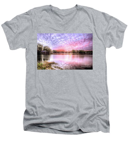 Men's V-Neck T-Shirt featuring the photograph Sunset On Flint Creek by Maddalena McDonald