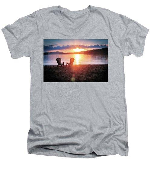 Sunset On Fourth Lake Men's V-Neck T-Shirt