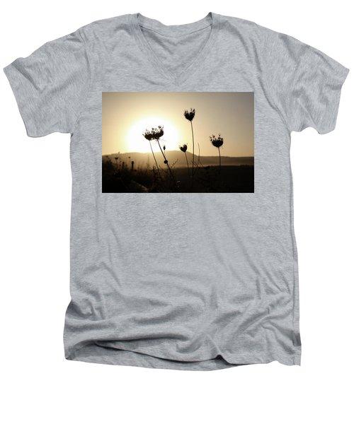 Sunset On Galilee Road Men's V-Neck T-Shirt by Yoel Koskas