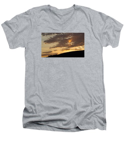 Men's V-Neck T-Shirt featuring the photograph Sunset On Hunton Lane #5 The Heart Knows by Carlee Ojeda