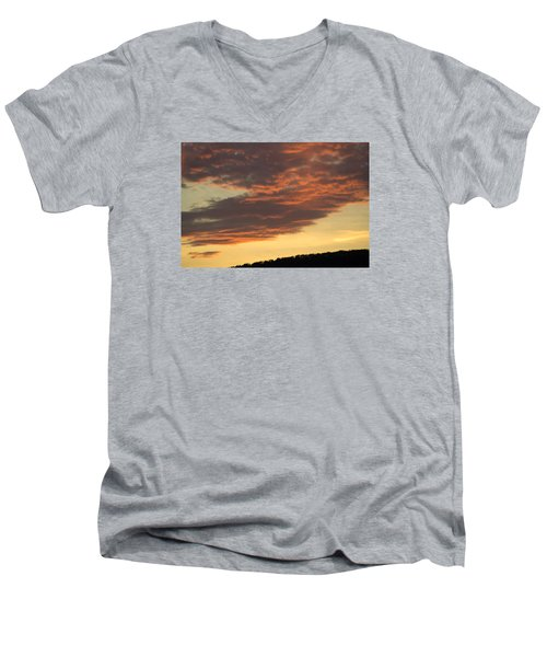 Men's V-Neck T-Shirt featuring the photograph Sunset On Hunton Lane #7 by Carlee Ojeda