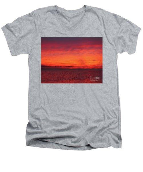 Sunset On Jersey Shore Men's V-Neck T-Shirt