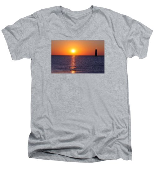 Sunset On Lake Michigan Men's V-Neck T-Shirt by Bruce Patrick Smith