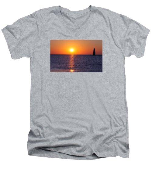 Sunset On Lake Michigan Men's V-Neck T-Shirt