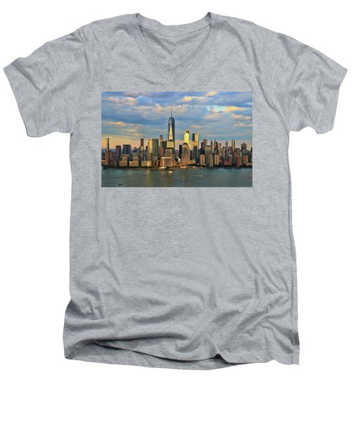 Sunset On Lower Manhattan Men's V-Neck T-Shirt