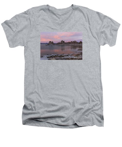 Men's V-Neck T-Shirt featuring the photograph Sunset On Mono Lake by Sandra Bronstein