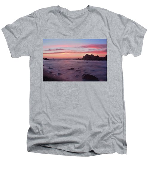 Men's V-Neck T-Shirt featuring the photograph Sunset On Monterey Bay by Dana Sohr