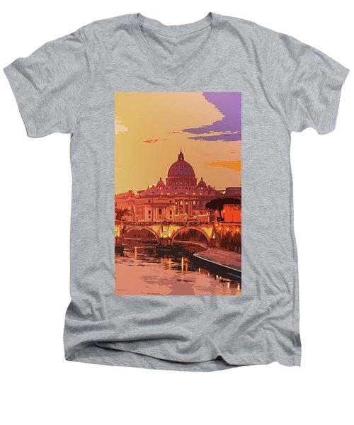 Sunset On Rome The Eternal City Men's V-Neck T-Shirt