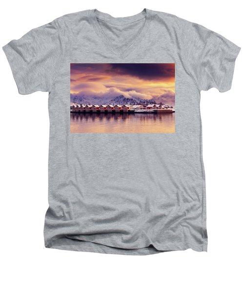 Sunset On Svolvaer Men's V-Neck T-Shirt