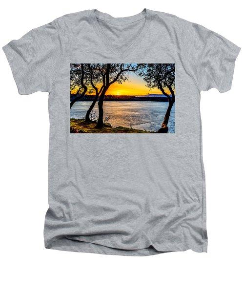 Sunset On Tacoma Narrows Men's V-Neck T-Shirt