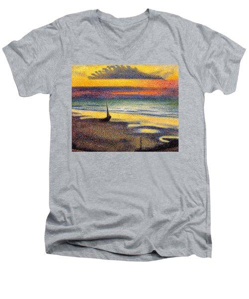 Sunset On The Beach 1891 Men's V-Neck T-Shirt