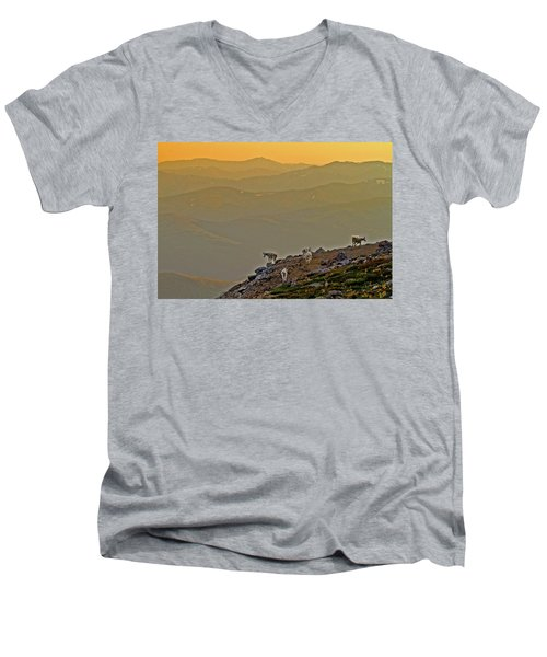 Men's V-Neck T-Shirt featuring the photograph Sunset On The Edge by Scott Mahon