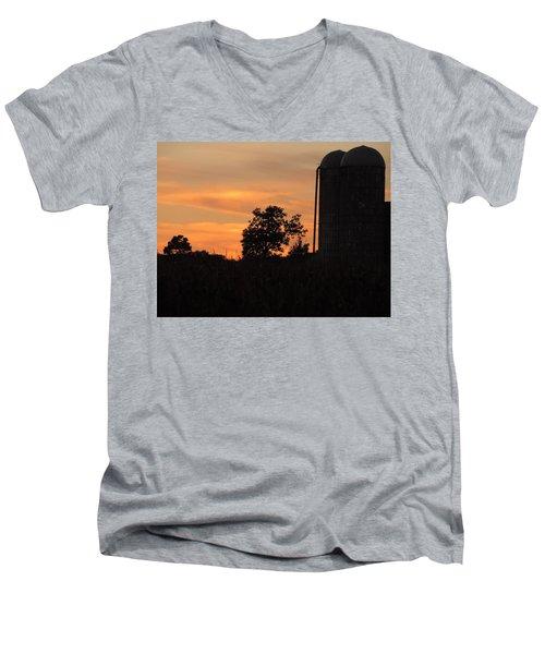 Sunset On The Farm Men's V-Neck T-Shirt by Teresa Schomig