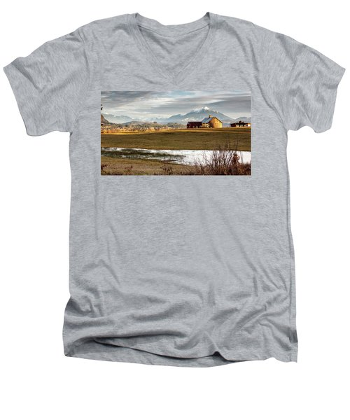 Sunset On The Farm Men's V-Neck T-Shirt