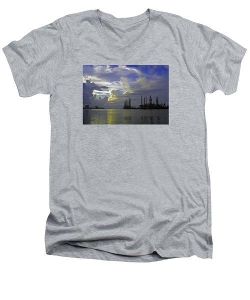 Sunset On The Harbor Men's V-Neck T-Shirt
