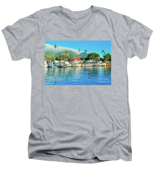 Sunset On The Marina Lahaina Harbour Maui Hawaii Men's V-Neck T-Shirt