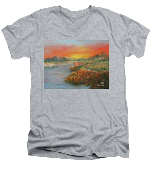 Sunset On The Marsh Men's V-Neck T-Shirt