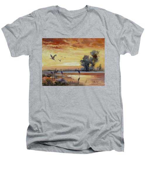 Sunset On The Marshes With Cranes Men's V-Neck T-Shirt by Irek Szelag