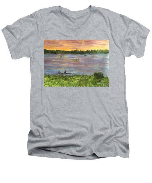Sunset On The Merrimac River Men's V-Neck T-Shirt