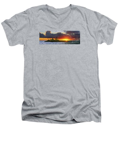Men's V-Neck T-Shirt featuring the photograph Sunset On The North Shore Of Oahu by Aloha Art