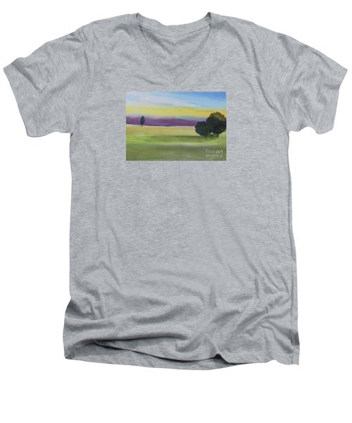 Sunset On The Plain Men's V-Neck T-Shirt