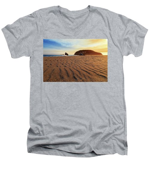 Men's V-Neck T-Shirt featuring the photograph Sunset On The Sands Of Brookings by James Eddy