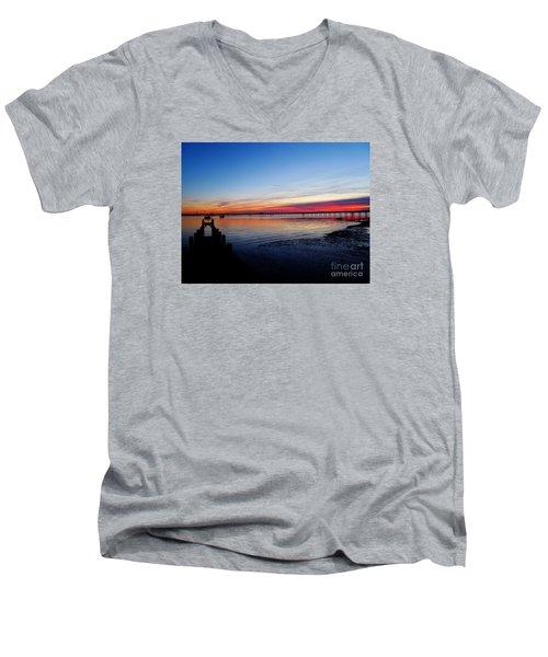 Sunset On The Shore Of Southend Men's V-Neck T-Shirt