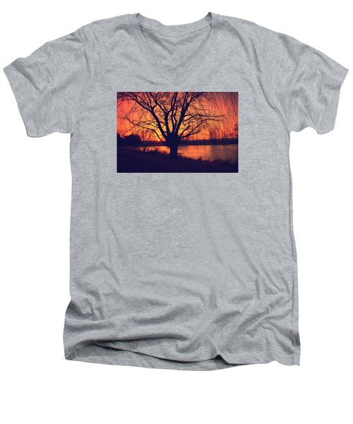 Sunset On Willow Pond Men's V-Neck T-Shirt by Kathy M Krause