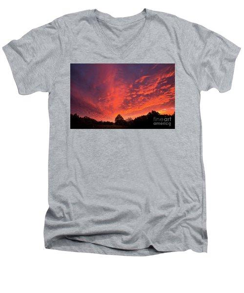 Sunset Over A Maine Farm Men's V-Neck T-Shirt by Alana Ranney