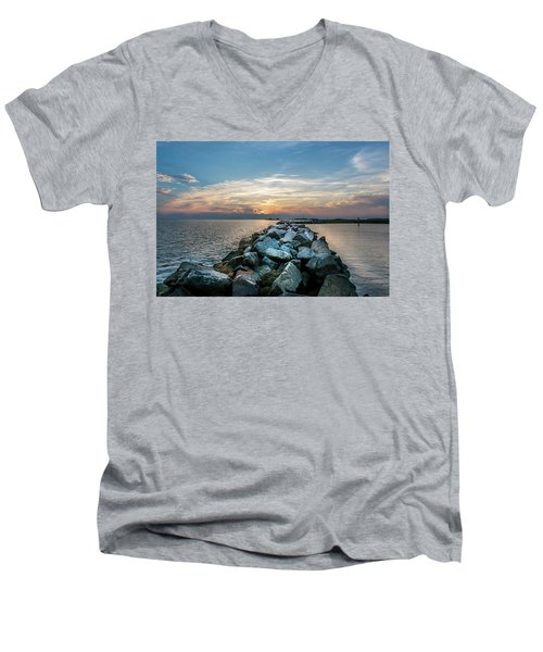 Sunset Over A Rock Jetty On The Chesapeake Bay Men's V-Neck T-Shirt