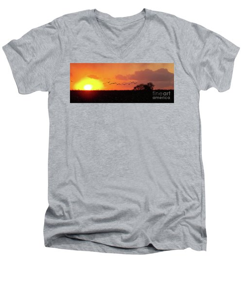 Sunset Over Easy Men's V-Neck T-Shirt by Sue Stefanowicz