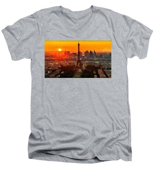 Sunset Over Eiffel Tower Men's V-Neck T-Shirt