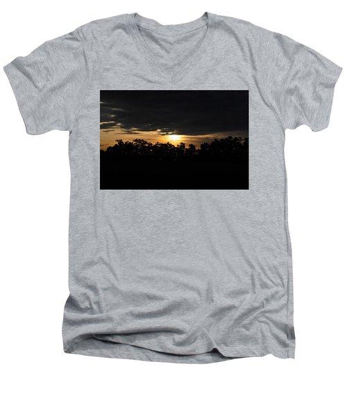 Sunset Over Farm And Trees - Silhouette View  Men's V-Neck T-Shirt by Matt Harang