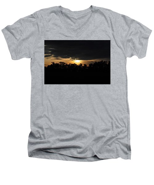 Sunset Over Farm And Trees - Silhouette View  Men's V-Neck T-Shirt
