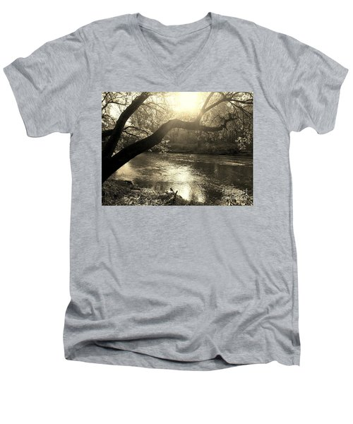 Sunset Over Flat Rock River - Southern Indiana - Sepia Men's V-Neck T-Shirt by Scott D Van Osdol