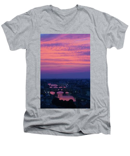 Sunset Over Florence Men's V-Neck T-Shirt