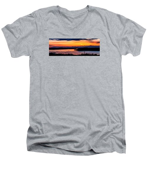 Sunset Over Hail Passage On The Puget Sound Men's V-Neck T-Shirt by Rob Green