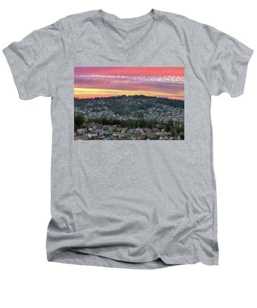 Sunset Over Happy Valley Residential Neighborhood Men's V-Neck T-Shirt