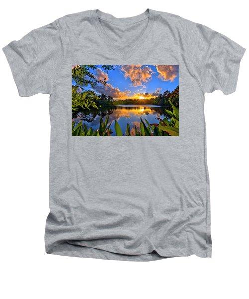 Sunset Over Hidden Lake In Jupiter Florida Men's V-Neck T-Shirt by Justin Kelefas
