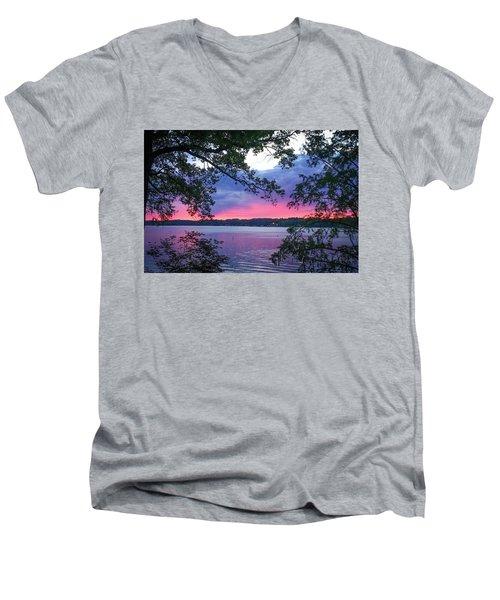 Sunset Over Lake Cherokee Men's V-Neck T-Shirt